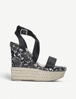 KG KURT GEIGER Raya snake-embossed faux-leather wedge sandals