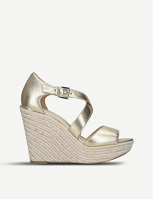 70a22390d7fb MICHAEL MICHAEL KORS Abbott leather and jute wedge sandals