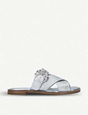 MICHAEL MICHAEL KORS Freida crystal-embellished buckle leather slides