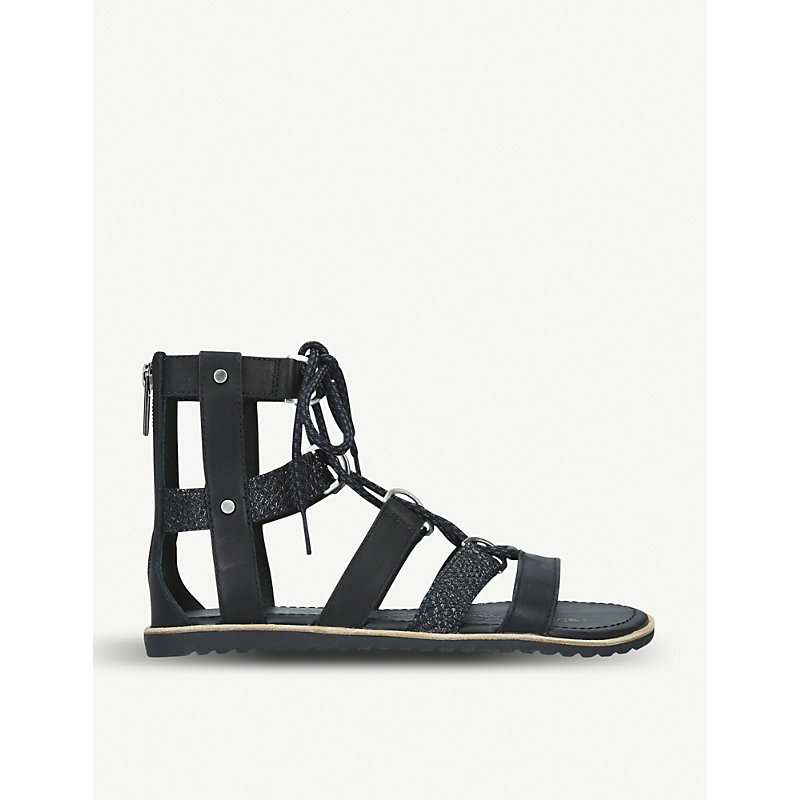 SOREL | Ella Snake-Embossed Leather And Suede Gladiator Sandals | Goxip