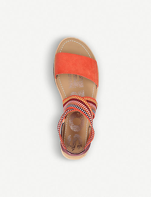 SOREL Ella striped-strap leather and textile sandals