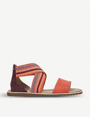 a7c2c4f22 SOREL · Ella striped-strap leather and textile sandals
