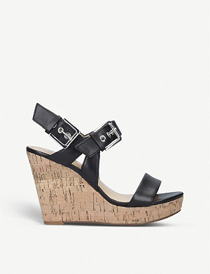 NINE WEST Scarlett leather wedge sandals