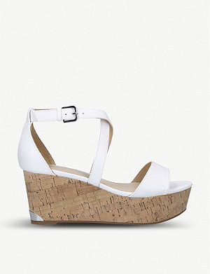 NINE WEST Violet open-toe leather wedge sandals
