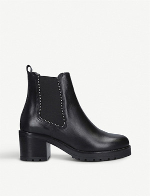 CARVELA Thrill bead-trimmed leather chelsea boots