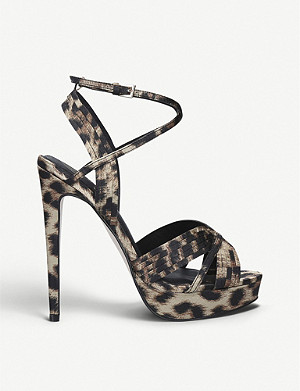 KG KURT GEIGER Sammy leopard-print satin heeled sandals