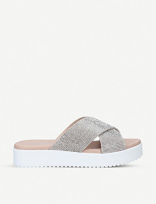 CARVELA: Kryptonite rhinestone-embellished suede sandals
