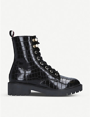KG KURT GEIGER: Tilly mock-croc faux-leather ankle boots