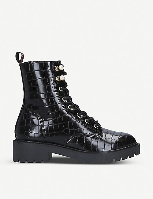 KG KURT GEIGER Tilly mock-croc faux-leather ankle boots