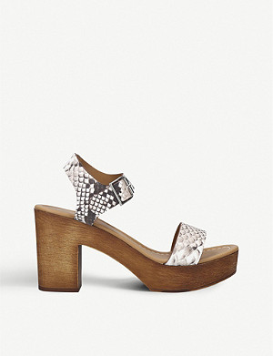 KG KURT GEIGER Roro snake-embossed leather heeled sandals