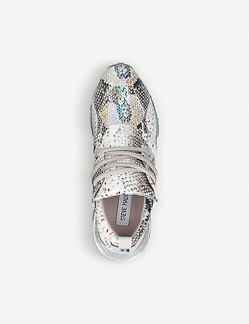 STEVE MADDEN Cliff snakeskin-embossed leather and textile trainers