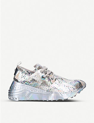 STEVE MADDEN: Cliff snakeskin-embossed leather and textile trainers