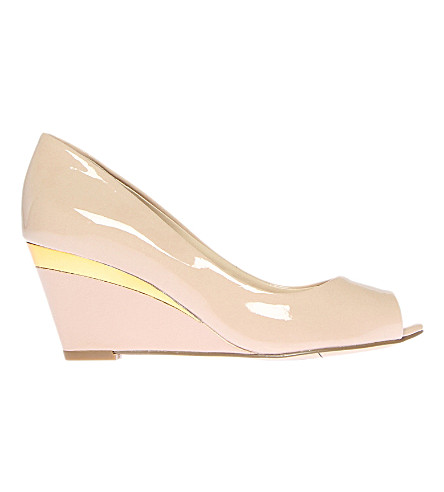 0ce235ee0dec NINE WEST Shockmode3 patent leather wedge courts (Nude