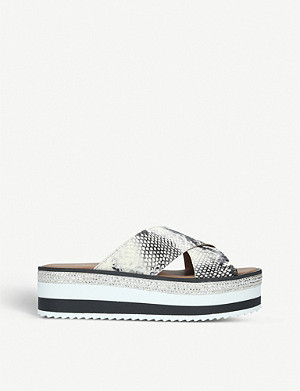 CARVELA Karlos snake-embossed leather flatform sandals