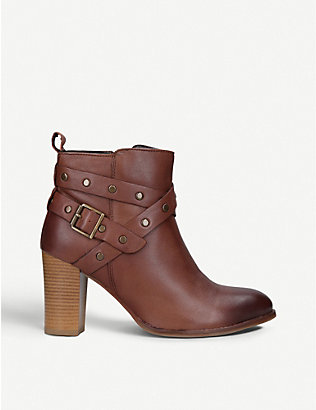 NINE WEST: Craze buckle-embellished leather ankle boots