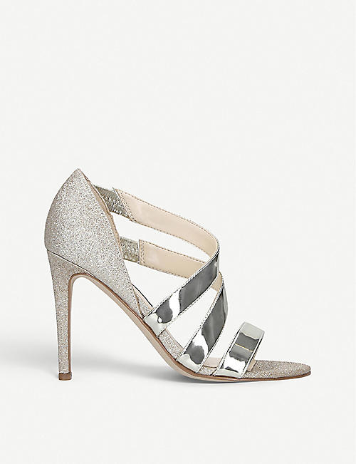 NINE WEST: Idella metallic faux-leather heeled sandals