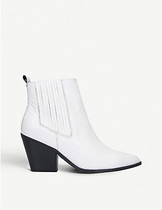 NINE WEST: Lexa snakeskin-effect leather Chelsea boots