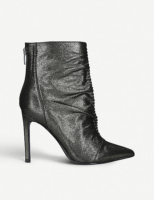 NINE WEST: Tiaa metallic leather ankle boots