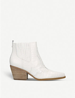 SAM EDELMAN: Winona crocodile-embossed leather ankle boots