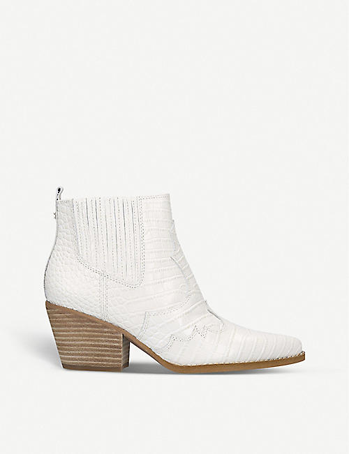 SAM EDELMAN Winona crocodile-embossed leather ankle boots