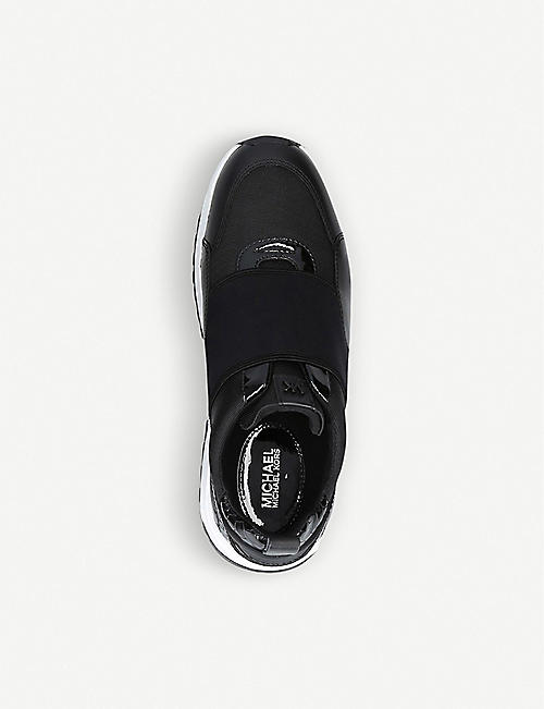 MICHAEL MICHAEL KORS Cosmo faux leather-trimmed woven trainers