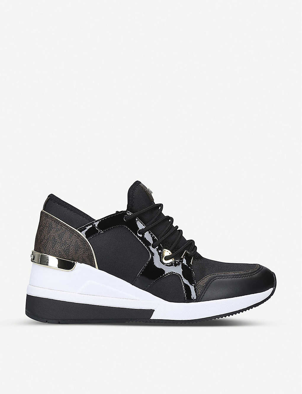 Liv leather and canvas wedge trainers(8191087)