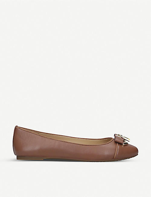MICHAEL MICHAEL KORS: Alice padlock-detail leather ballet flats