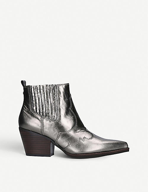 SAM EDELMAN: Sam Edelman Winona leather metallic ankle boots