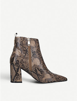 KG KURT GEIGER: Suki snake-embossed faux-leather heeled ankle boots