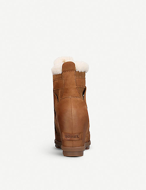 SOREL Joan of Artic nubuck and felt wedge boots