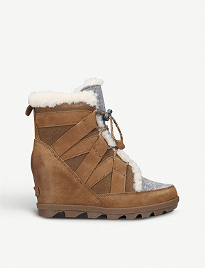 SOREL Joan of Arctic nubuck and felt wedge boots