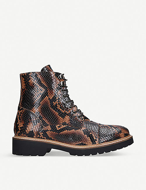 CARVELA Snaily snakeskin-print leather boots