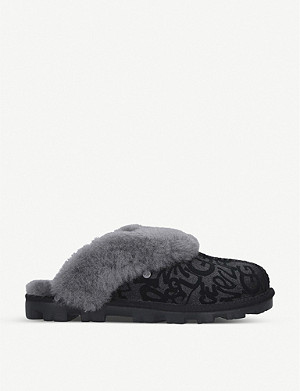 UGG Coquette Sparkle Graffiti suede and shearling slippers