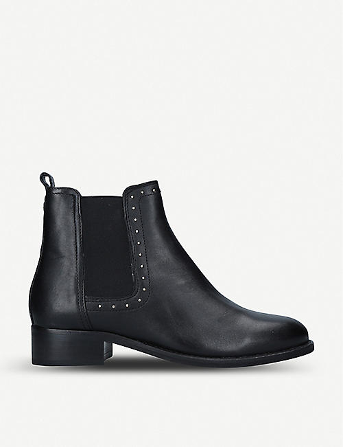 NINE WEST: Check studded leather Chelsea boots