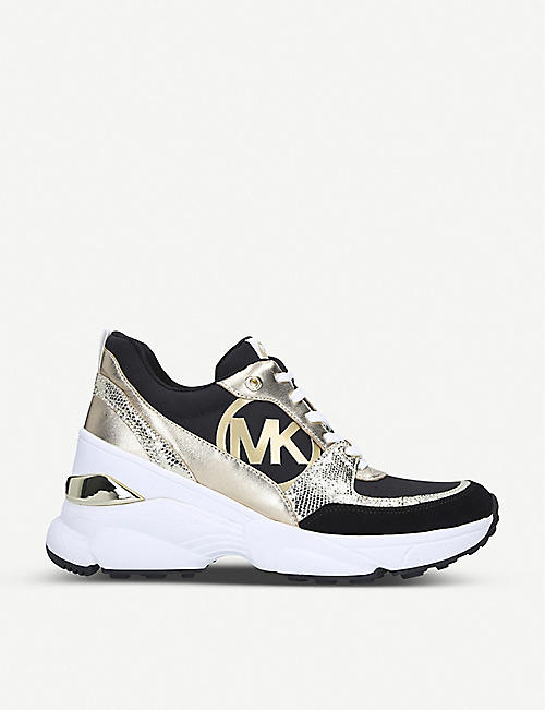 MICHAEL MICHAEL KORS Mickey panelled leather and canvas trainers