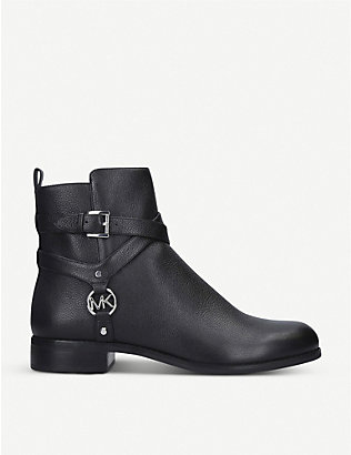 MICHAEL MICHAEL KORS: Preston Flat harness leather ankle boots