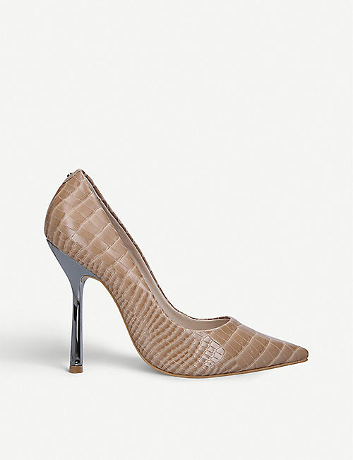 CARVELA: Achieve croc-embossed leather court shoes