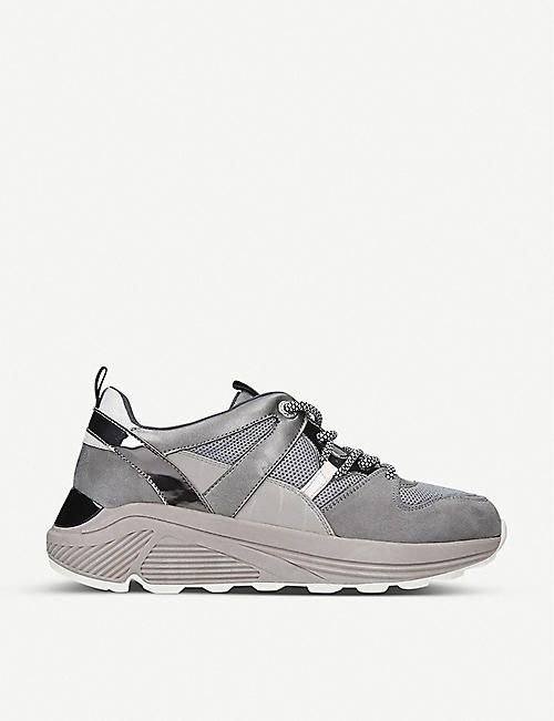 KG KURT GEIGER Loaded leather and suede platform trainers