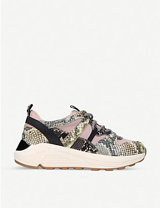 KG KURT GEIGER: Loaded snakeskin-print leather platform trainers