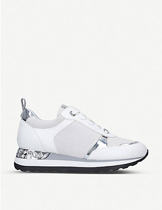 CARVELA: Jemm crystal-embellished panelled trainers