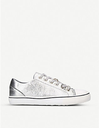 CARVELA: Legend snakeskin-embossed metallic leather trainers