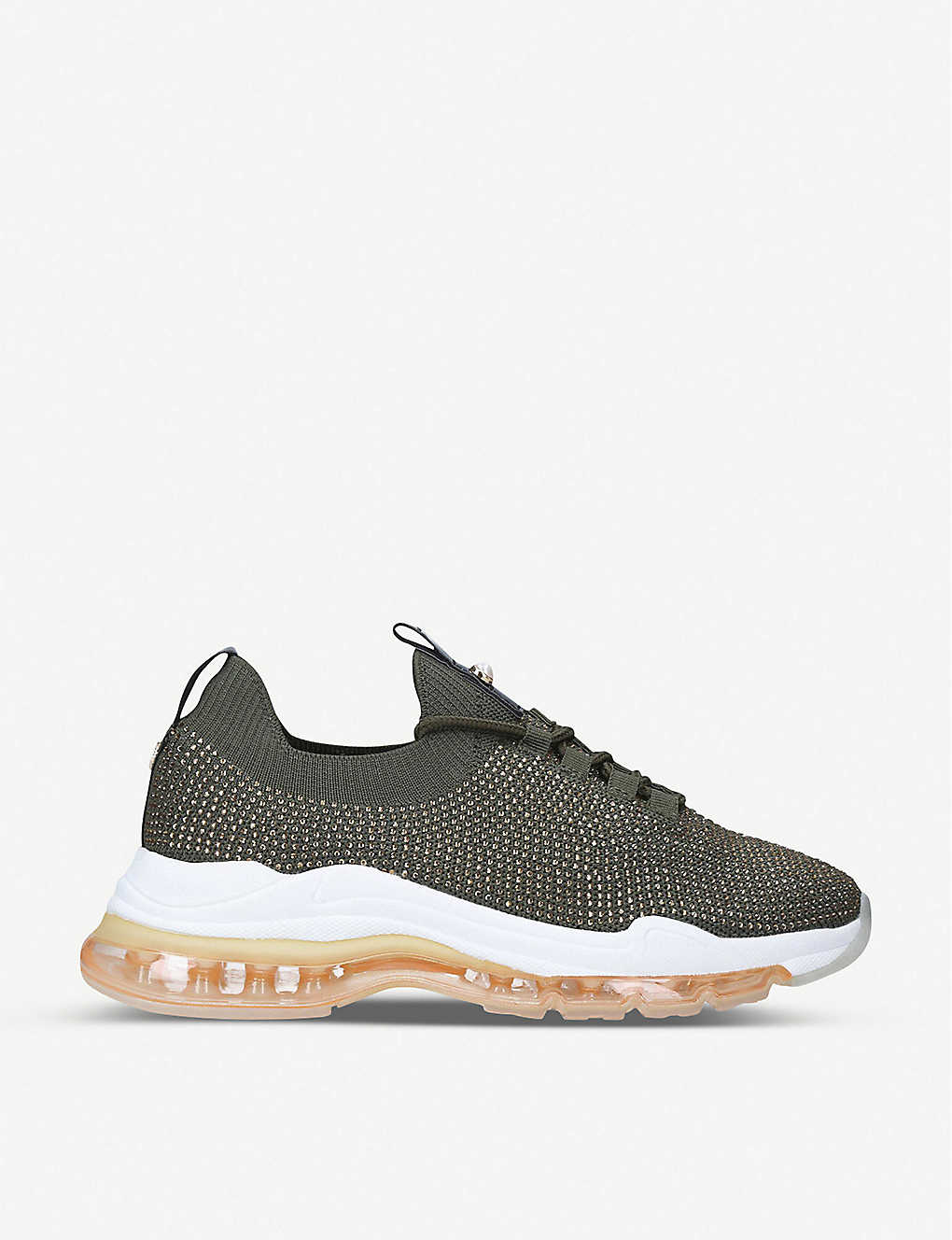 KG KURT GEIGER: Later faux pearl-embellished woven trainers