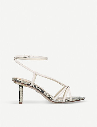 SAM EDELMAN: Pippa snake-print leather heeled sandals