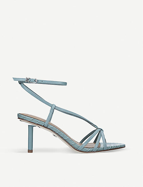 SAM EDELMAN: Pippa croc-embossed leather heeled sandals
