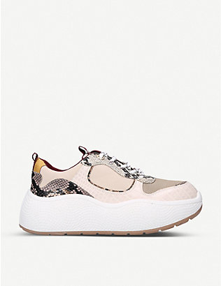 KG KURT GEIGER: Lefty snakeskin-print faux-leather trainers