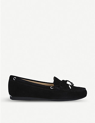 MICHAEL MICHAEL KORS: Sutton bow-embellished suede moccasins