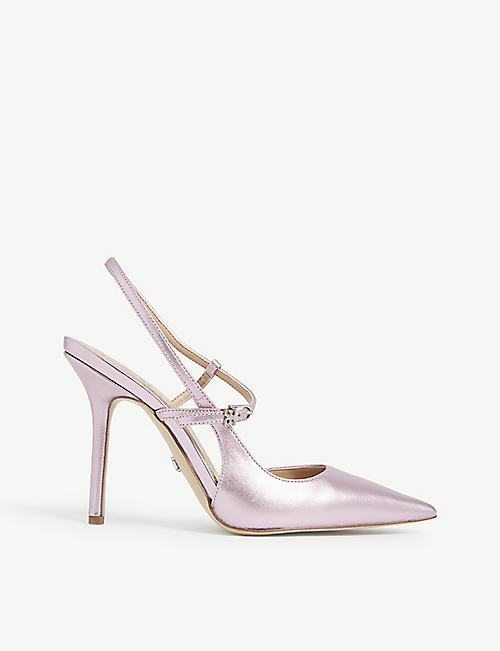SAM EDELMAN: Ayla metallic leather stiletto sandals
