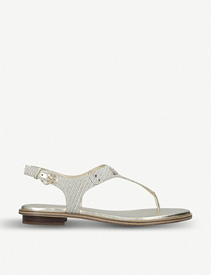 MICHAEL MICHAEL KORS MK Plate leather and metallic mesh sandals