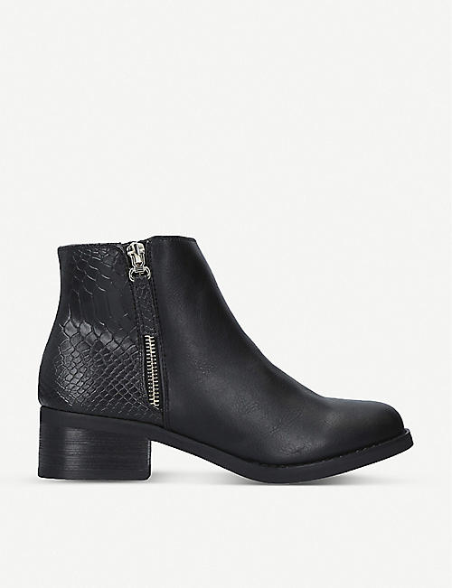 MISS KG: Janice snake-embossed leather heeled ankle boots