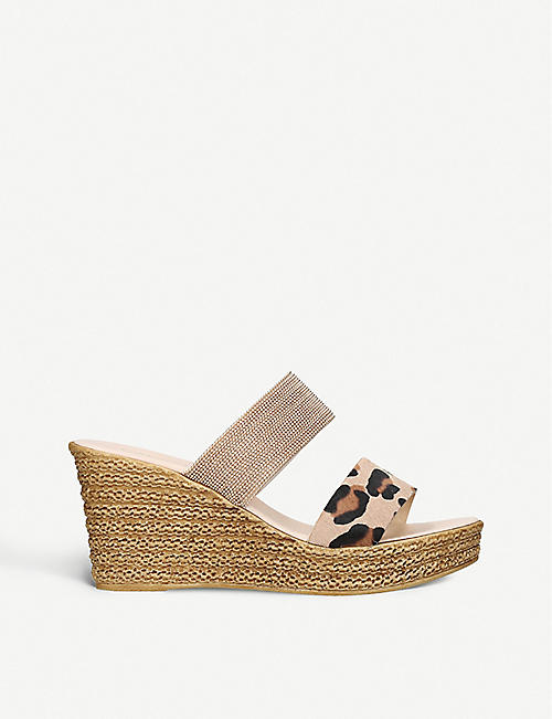 89ed99ceb3e CARVELA COMFORT Sybil leopard-print leather wedge sandals